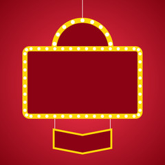 Marquee lights red banner with copy space