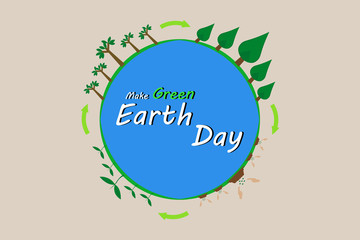Earth day . Earth holds 2 finger and smile.vector and illustration