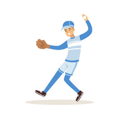 Smiling baseball player in a blue uniform pitching vector Illustration
