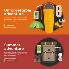 Flat vector banners on theme of hiking tourism. Outfit of traveler. Sports, adventures in nature, outdoor recreation.