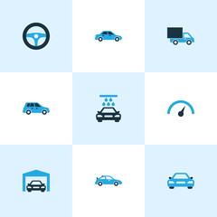 Car Colorful Icons Set. Collection Of Vehicle Wash, Van, Sports Automobile And Other Elements. Also Includes Symbols Such As Garage, Sedan, Repairing.