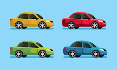 Collection of color cars. Side view. Cartoon vector illustration.