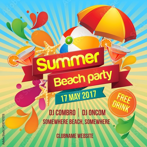 summer beach party poster template stock image and royalty free