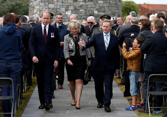 Britain's Prince William, Belgium's Princess Astrid and Ireland's Prime Minister Enda Kenny attend Commemorations of Battle of Messines Ridge at the Island of Ireland Peace Park in Mesen