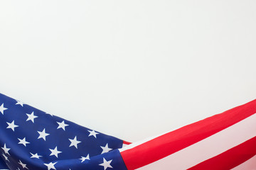 US flag border on white background