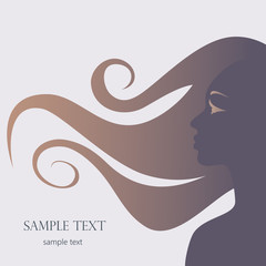 Silhouette of a girl, head, hair. Profile, beautiful woman in vector style. Vector illustration.