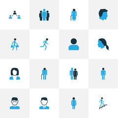 Person Colorful Icons Set. Collection Of Human, Personal Data, Woman And Other Elements. Also Includes Symbols Such As Couple, Contact, Man.