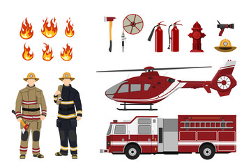 Firefighters and fire fighting equipment on a white background. Helicopter and fireman's car. Icons of flame and items