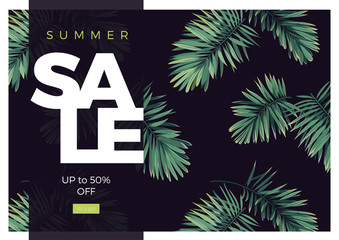 Dark vector tropical typography sale design with green jungle palm leaves.