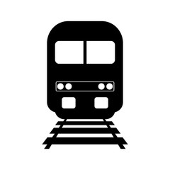 Black train vector icon on white background