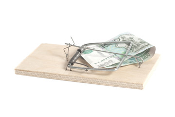 Mousetrap with Russian one thousand ruble banknotes