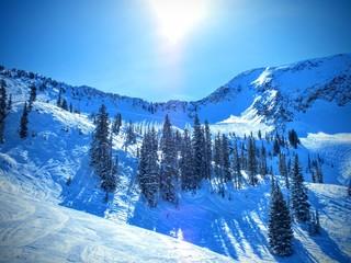 Fototapeta Brighton Ski Snowboard Resort view from the slops of mountains near Salt Lake Valley in Winter Snow obraz