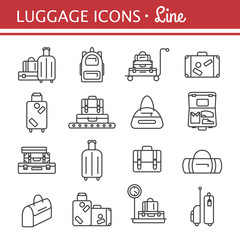 Bags line icon set. luggage images.