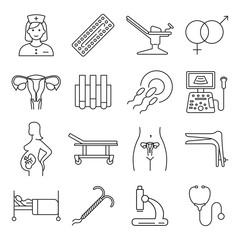 Vector gynecology symbols icon set.