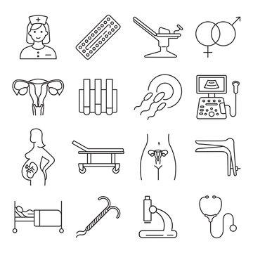 Vector gynecology symbols icon set.