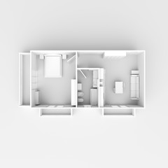 3d interior rendering of white furnished home apartment