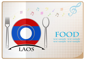 Food logo made from the flag of Laos