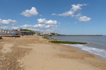 Felixstowe beach and pier buildling during construction on 14th May 2017