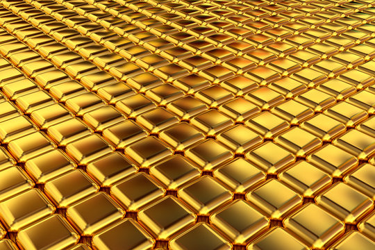 Gold squares extruded abstract background , 3d