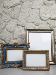 Blank picture frames at the desk with clipping path