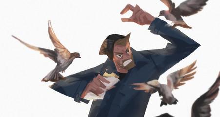 greedy pigeons   Fotoväggar