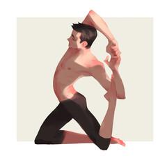 Shirtless man practicing yoga asana