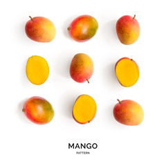 Seamless pattern with mango. Tropical abstract background. mango on white background.