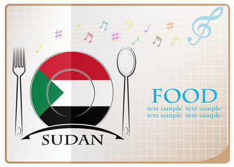 Food logo made from the flag of Sudan