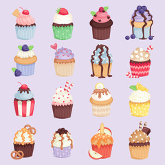 Set of cute vector cupcakes and muffins isolated illustration