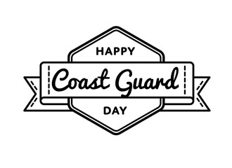 Happy Coast Guard day emblem isolated vector illustration on white background. 4 august usa professional holiday event label, greeting card decoration graphic element