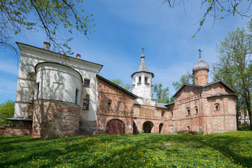 Old Church of the Annunciation and of the Archangel Michael sunny May day. Veliky Novgorod, Russia
