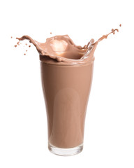 Chocolate milk splash out of glass., Isolated on white background.