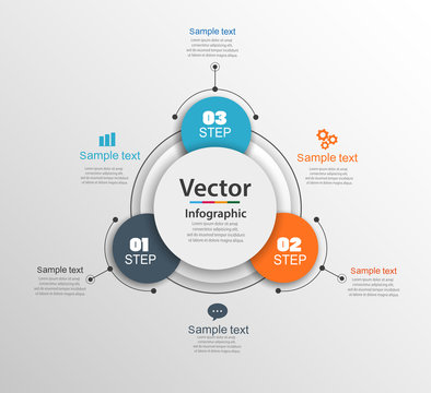 Infographic design template can be used for workflow layout, diagram, number options, web design. Infographic business concept with 3 options, parts, steps or processes.Vector eps 10