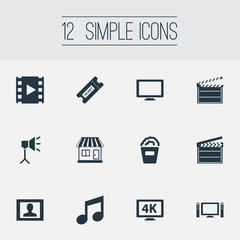 Vector Illustration Set Of Simple Movie Icons. Elements Home Cinema, Screen, Presenter And Other Synonyms Music, Bucket And Action.