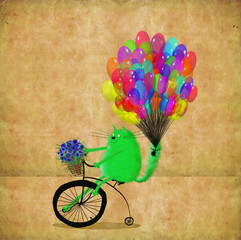 Green Cat With Colorful Balloons And Flowers Riding High Wheel
