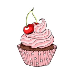 Creamy cup cake with cherry. Hand drawing sketch vector illustration.
