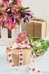 Alstromeria flowers in the wooden box, gift