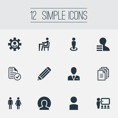 Vector Illustration Set Of Simple Hr Icons. Elements Approved Document, Personal, Eraser And Other Synonyms Person, Business And Document.