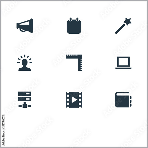 Vector illustration set of simple ui icons elements blueprint vector illustration set of simple ui icons elements blueprint creativity wizard stick and malvernweather Images