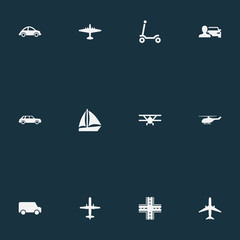 Poster Kosmos Vector Illustration Set Of Simple Transport Icons. Elements Automotive, Plane, Kids Activity And Other Synonyms Yacht, Lorry And Man.