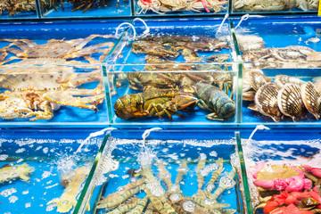 crabs, scallops in fish market in Guangzhou city