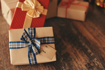 Gift box on wooden texture,copy space