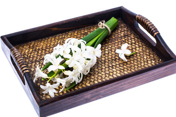 Cutted hyacinth on wooden background