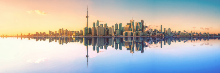 Photo sur Toile Toronto Toronto Skyline Mirror Panorama