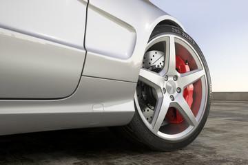 Wheel sport car close-up outdoor 3d
