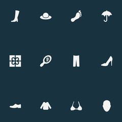 Vector Illustration Set Of Simple Wardrobe Icons. Elements Brasserie, Make-Up Glass, Barefoot And Other Synonyms Elegant, Breast And Apparel.