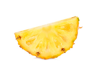 Slice of fresh pineapple fruit isolated on white background
