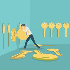 Illustration depicting a man picking keys to a lock