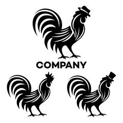 Rooster in a hat logo