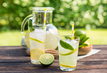 Fresh lemonade with ice